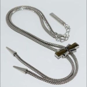 BCBGeneration Silver Bolo Tie Necklace NWT